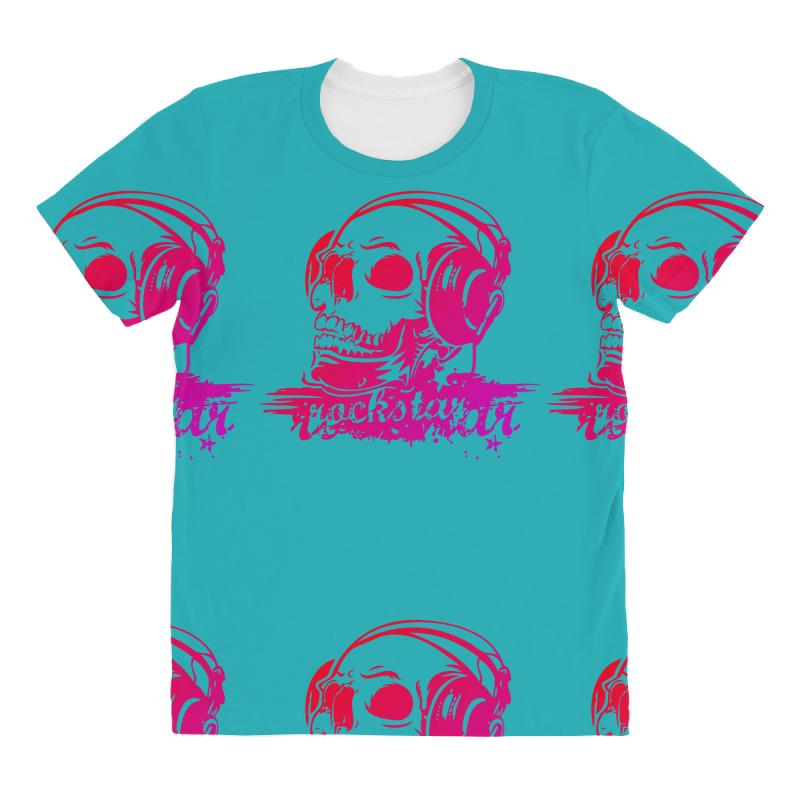 Vintage Rock skull music All Over Women's T-shirt
