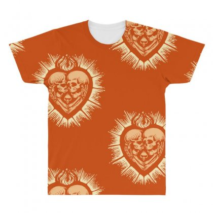 Sacred Heart Skull Lovers All Over Men's T-shirt Designed By Specstore