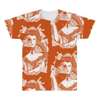Half Dead Geisha All Over Men's T-shirt Designed By Specstore