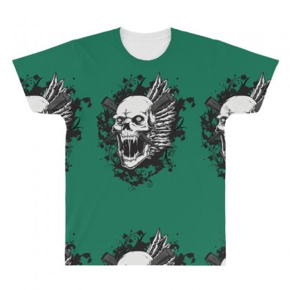Sealed Vampire Skull All Over Men's T-shirt Designed By Specstore