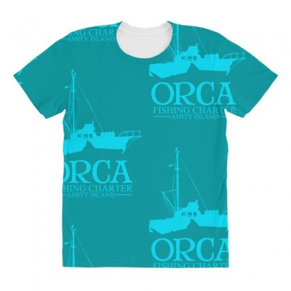 Orca Fishing Charter All Over Women's T-shirt Designed By Specstore