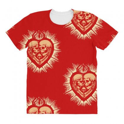 Sacred Heart Skull Lovers All Over Women's T-shirt Designed By Specstore