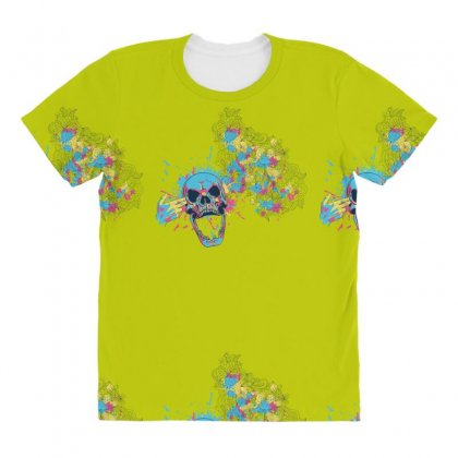 Cmyk Bang Skull All Over Women's T-shirt Designed By Specstore