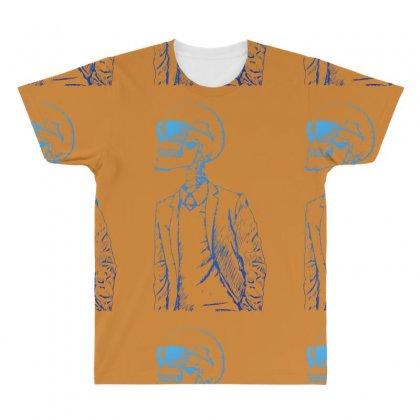 Gentleman Skull All Over Men's T-shirt Designed By Specstore
