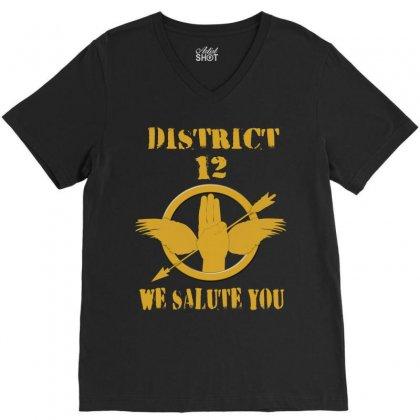 District 12 We Salute You V-neck Tee Designed By Love Shiga