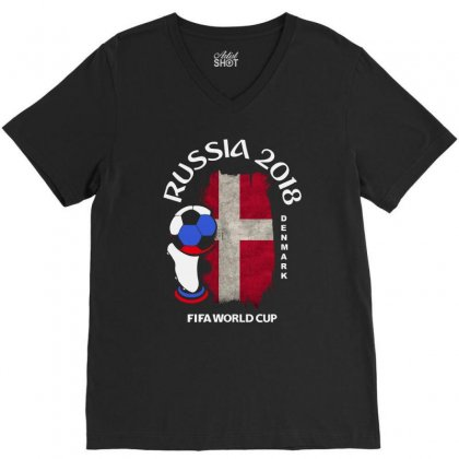 Denmark National Team Youth 2018 Fifa World Cup V-neck Tee Designed By Aheupote