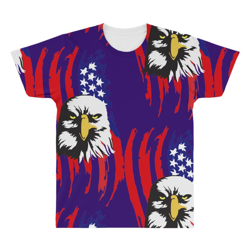 75e73581 Custom American Eagle Usa Flag Head All Over Men's T-shirt By ...