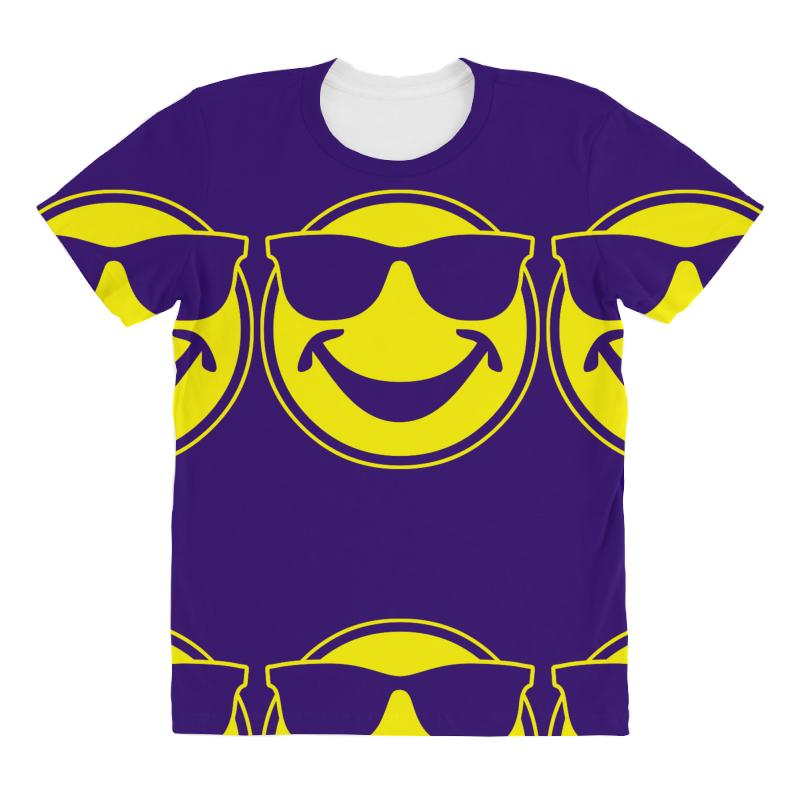 837c32b869ac Custom Cool Yellow Smiley Bro With Sunglasses All Over Women's T ...