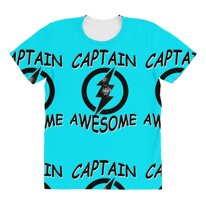 c88ef664 captain awesome tshirt funny humor tee comic vintage new lightning vtg All  Over Women's T-shirt