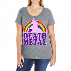 funny death metal unicorn rainbow Ladies Curvy T-Shirt | Artistshot