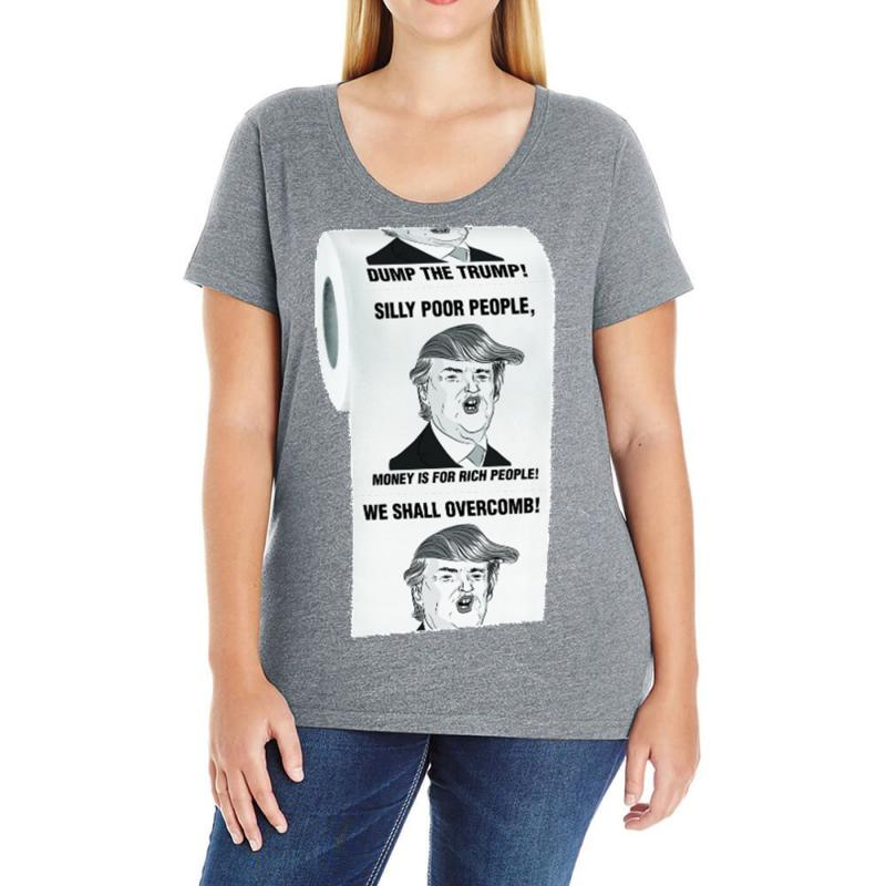 Custom Funny Donald Trump Toilet Paper Ladies Curvy T Shirt By