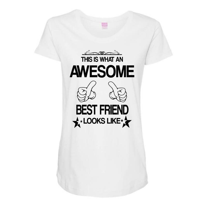 fe4c2b903ebb43 This Is What An Awesome Best Friend Looks Like Maternity Scoop Neck T-shirt