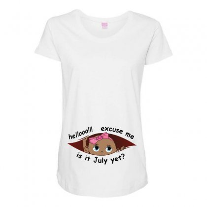 July Peeking Out Baby Girl Maternity Scoop Neck T-shirt