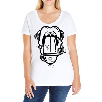 The Diamond Tongue Ladies Curvy T-shirt Designed By Specstore