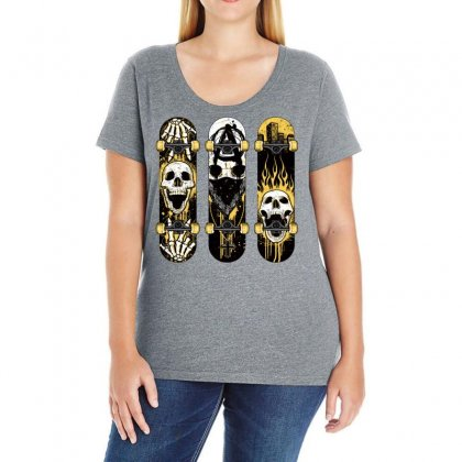 Burned Skate Skull Ladies Curvy T-shirt Designed By Specstore