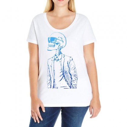 Gentleman Skull Ladies Curvy T-shirt Designed By Specstore