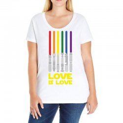 Lightsaber Rainbow - Love Is Love Ladies Curvy T-Shirt | Artistshot