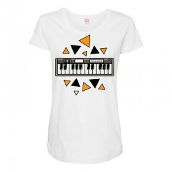 music,keyboard,electronic,piano,triangle,reflections,cute,vectorart, Maternity Scoop Neck T-shirt | Artistshot