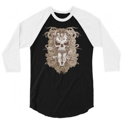Halloween Skull 3/4 Sleeve Shirt Designed By Riksense