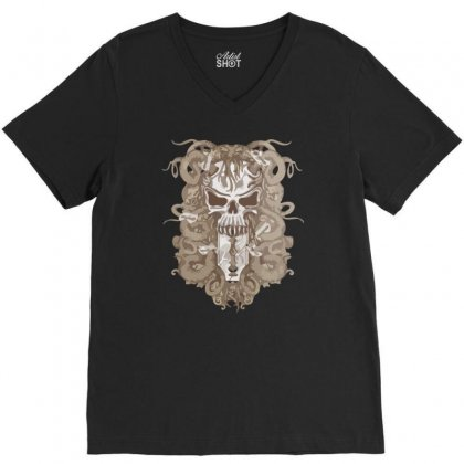 Halloween Skull V-neck Tee Designed By Riksense