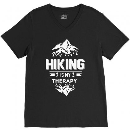 Hiking Is My Therapy! V-neck Tee Designed By Riksense