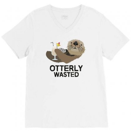 Otterly Wasted Drinking V-neck Tee Designed By Riksense