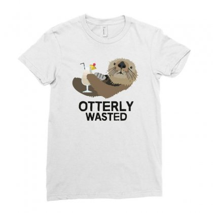 Otterly Wasted Drinking Ladies Fitted T-shirt Designed By Riksense