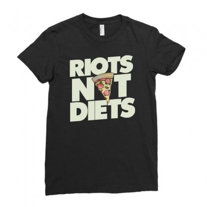 Riots Not Diets Ladies Fitted T-shirt Designed By Riksense
