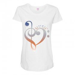 music expresses clef heart girls Maternity Scoop Neck T-shirt | Artistshot