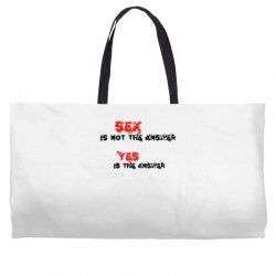 yes is the answer Weekender Totes | Artistshot