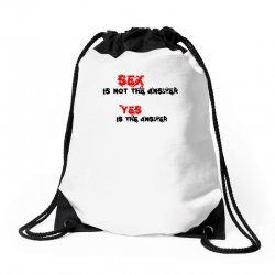yes is the answer Drawstring Bags | Artistshot