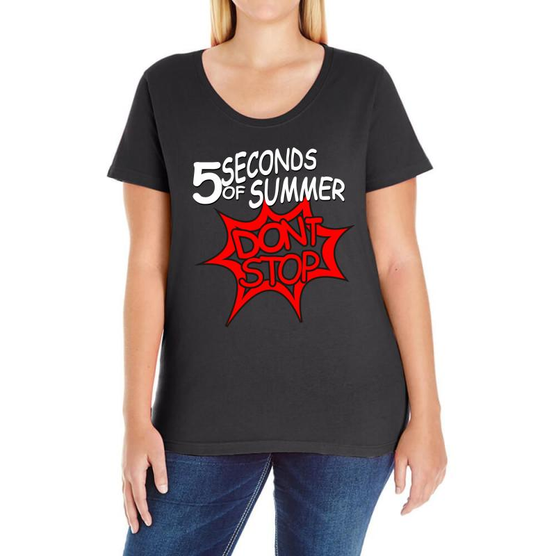 3682336f061c Custom 5sos Don t Stop Five Seconds Of Summer Band Ladies Curvy T ...