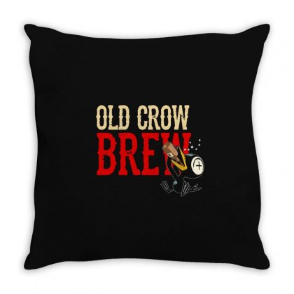 Drinky Crow Throw Pillow Designed By Aheupote