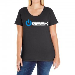 geek' (power on button) Ladies Curvy T-Shirt | Artistshot
