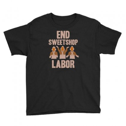End Sweetshop Labor Youth Tee Designed By Mash Art