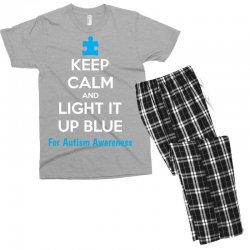 Keep Calm And Light It Up Blue For Autism Awareness Men's T-shirt Pajama Set | Artistshot