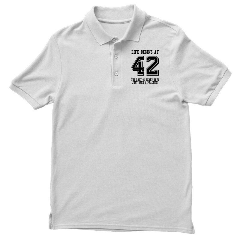 42nd Birthday Life Begins At 42 Men's Polo Shirt | Artistshot