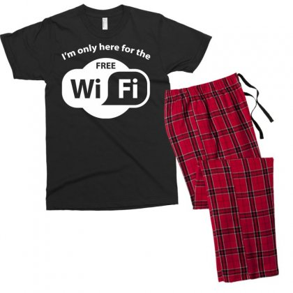 Here For The Free Wifi Men's T-shirt Pajama Set Designed By Gematees