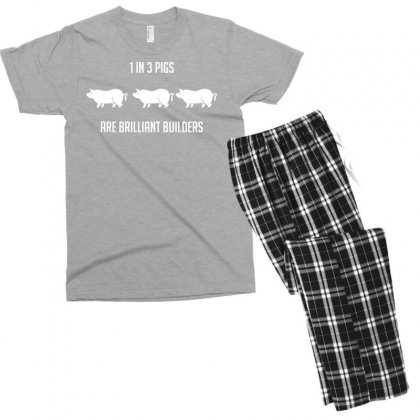 One In Three Pigs Are Brilliant Builders Men's T-shirt Pajama Set Designed By Gematees