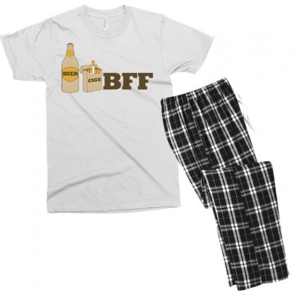 Beer And Cigs Best Friends Men's T-shirt Pajama Set Designed By Gematees