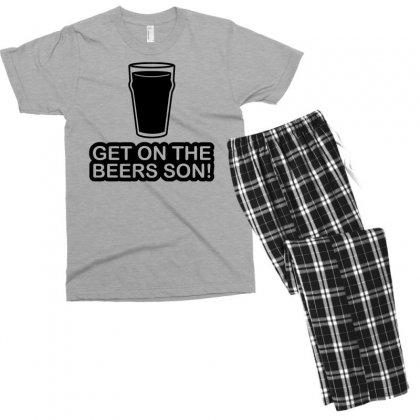 Get On The Beers Son! Men's T-shirt Pajama Set Designed By Gematees