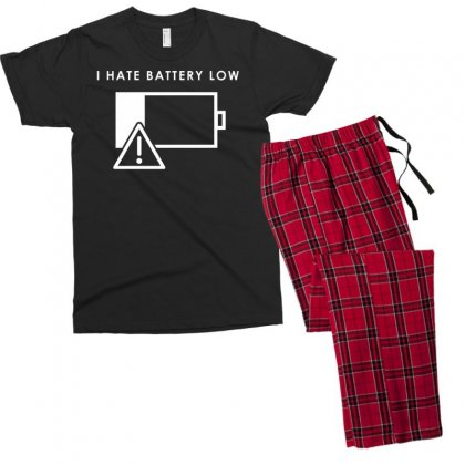 Hate Battery Low Men's T-shirt Pajama Set Designed By Gematees