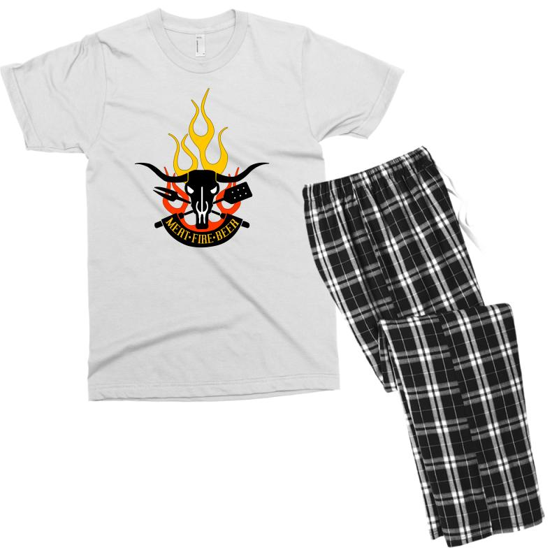 f0a9034c3 Custom Meat Fire Beer Father's Day Men's T-shirt Pajama Set By Yudyud -  Artistshot