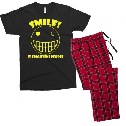 Smile, It Frightens People Men's T-shirt Pajama Set Designed By Gematees