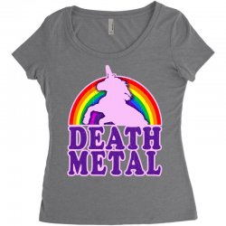 funny death metal unicorn rainbow Women's Triblend Scoop T-shirt | Artistshot
