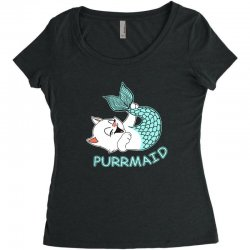 funny purr maid cat mermaid Women's Triblend Scoop T-shirt | Artistshot