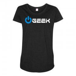 geek' (power on button) Maternity Scoop Neck T-shirt | Artistshot