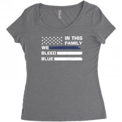 in this family we bleed blue funny Women's Triblend Scoop T-shirt | Artistshot