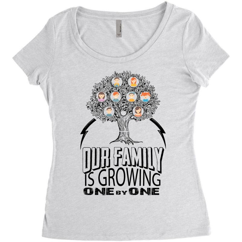3bcf3cdc Custom Our Family Is Growing One By One Women's Triblend Scoop T ...