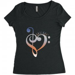 music expresses clef heart girls Women's Triblend Scoop T-shirt | Artistshot